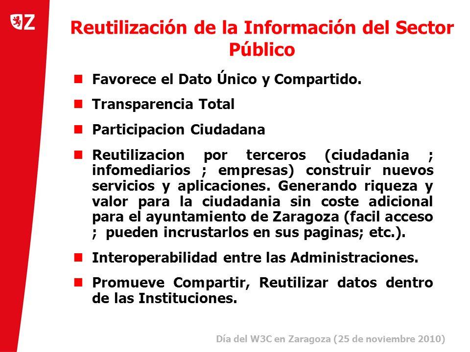 2 Día del W3C en Zaragoza (25 de noviembre 2010) ) Reutilización de la Información del Sector Público Favorece el Dato Único y Compartido.