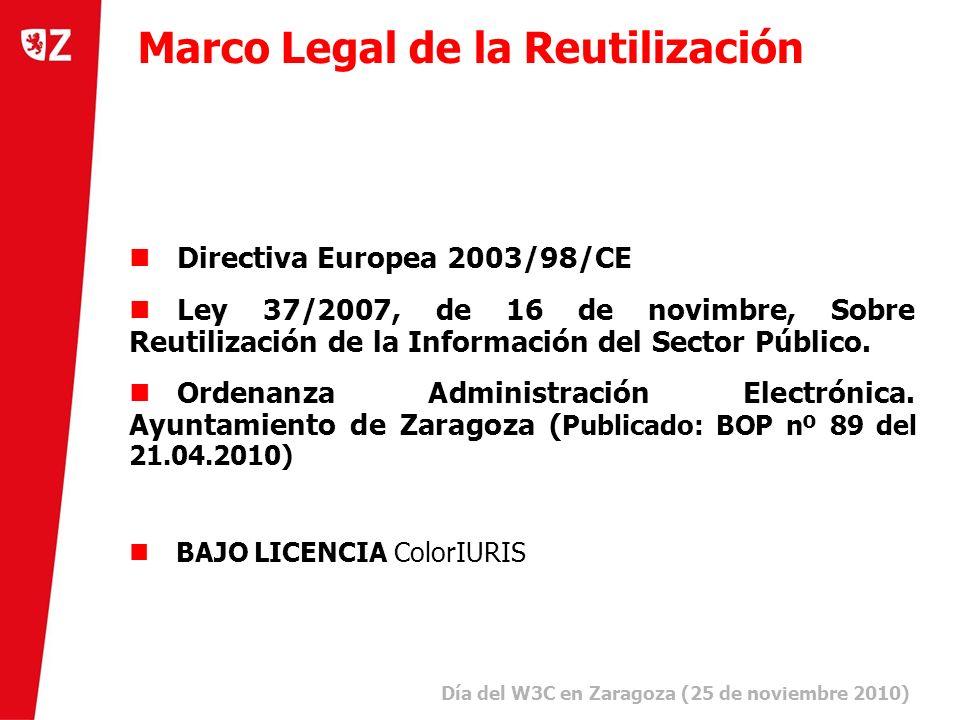 22 Día del W3C en Zaragoza (25 de noviembre 2010) ) Marco Legal de la Reutilización Directiva Europea 2003/98/CE Ley 37/2007, de 16 de novimbre, Sobre Reutilización de la Información del Sector Público.