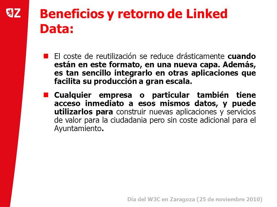 23 Día del W3C en Zaragoza (25 de noviembre 2010) ) Beneficios y retorno de Linked Data: El coste de reutilización se reduce drásticamente cuando están en este formato, en una nueva capa.