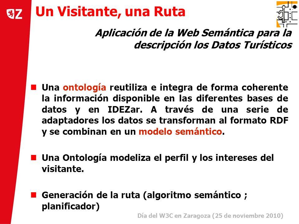 5 Día del W3C en Zaragoza (25 de noviembre 2010) ) Una ontología reutiliza e integra de forma coherente la información disponible en las diferentes bases de datos y en IDEZar.