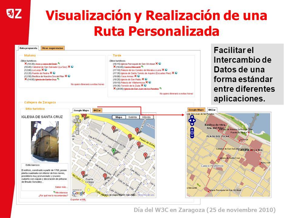 6 Día del W3C en Zaragoza (25 de noviembre 2010) ) Visualización y Realización de una Ruta Personalizada Facilitar el Intercambio de Datos de una forma estándar entre diferentes aplicaciones.