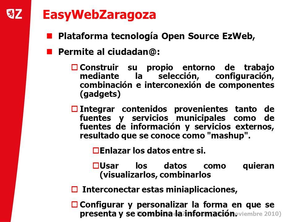 7 Día del W3C en Zaragoza (25 de noviembre 2010) ) EasyWebZaragoza Plataforma tecnología Open Source EzWeb, Permite al ciudadan@: Construir su propio entorno de trabajo mediante la selección, configuración, combinación e interconexión de componentes (gadgets) Integrar contenidos provenientes tanto de fuentes y servicios municipales como de fuentes de información y servicios externos, resultado que se conoce como mashup .
