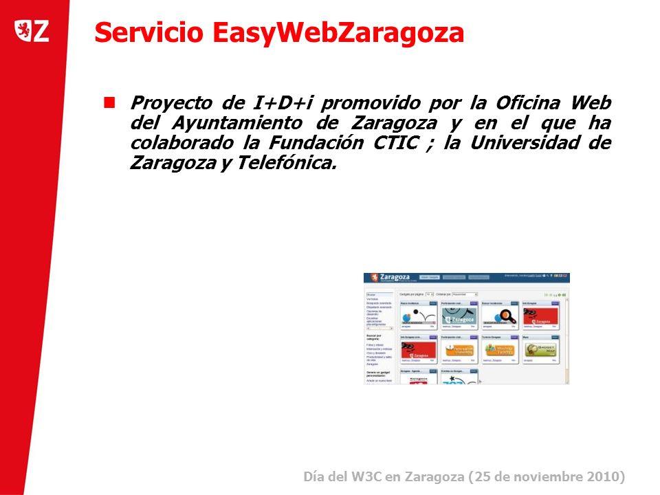 8 Día del W3C en Zaragoza (25 de noviembre 2010) ) Servicio EasyWebZaragoza Proyecto de I+D+i promovido por la Oficina Web del Ayuntamiento de Zaragoza y en el que ha colaborado la Fundación CTIC ; la Universidad de Zaragoza y Telefónica.
