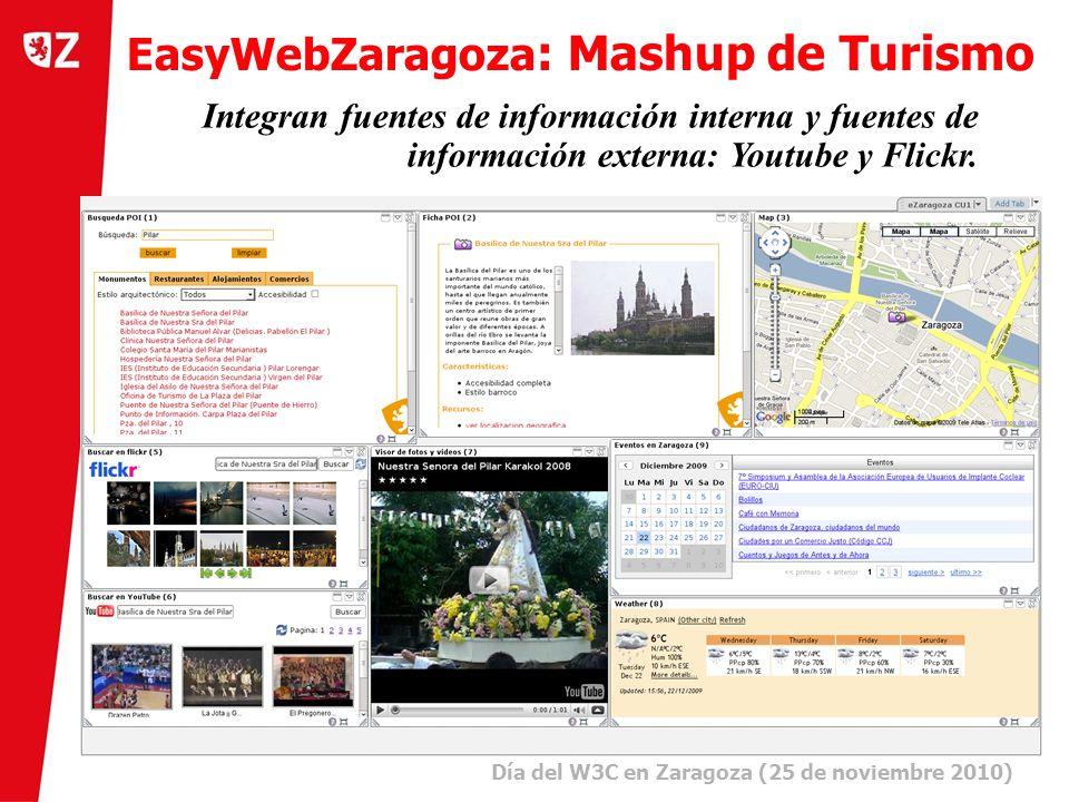 9 Día del W3C en Zaragoza (25 de noviembre 2010) ) Integran fuentes de información interna y fuentes de información externa: Youtube y Flickr.