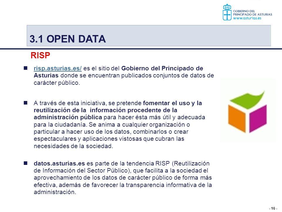 - 16 - risp.asturias.es/ es el sitio del Gobierno del Principado de Asturias donde se encuentran publicados conjuntos de datos de carácter público. ri