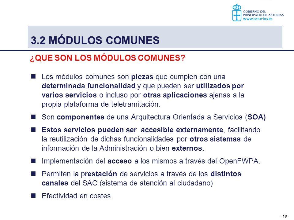 - 18 - Los módulos comunes son piezas que cumplen con una determinada funcionalidad y que pueden ser utilizados por varios servicios o incluso por otr