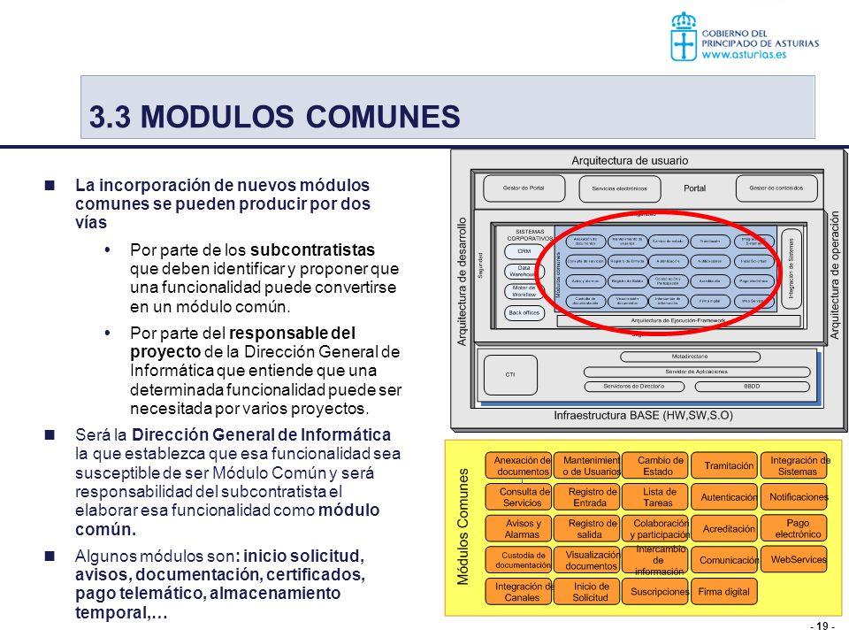 - 19 - La incorporación de nuevos módulos comunes se pueden producir por dos vías Por parte de los subcontratistas que deben identificar y proponer qu