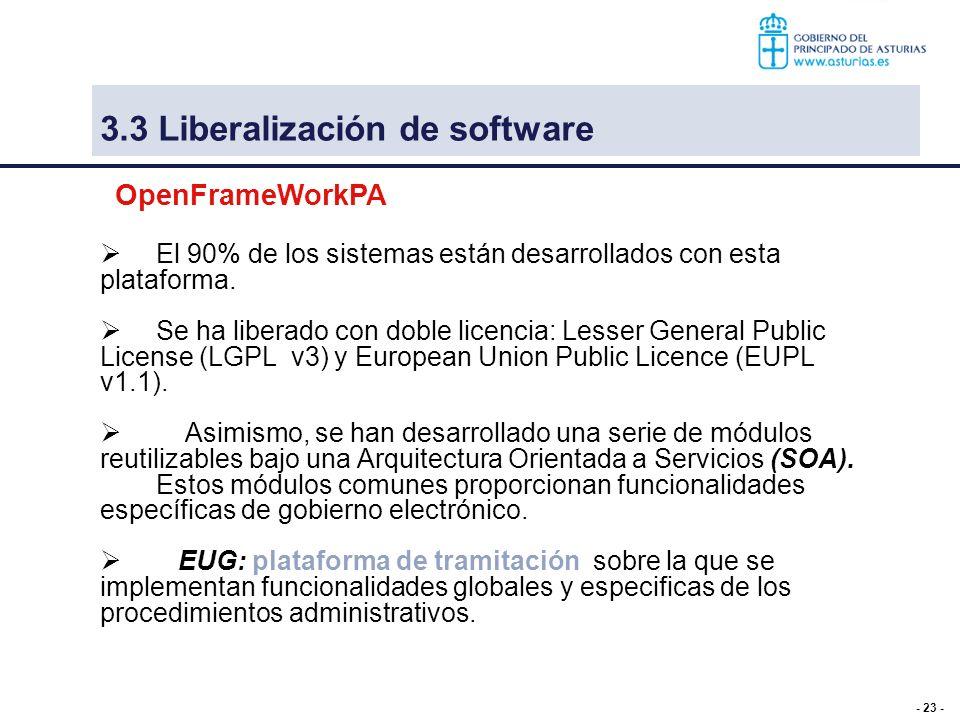 - 23 - 3.3 Liberalización de software El 90% de los sistemas están desarrollados con esta plataforma. Se ha liberado con doble licencia: Lesser Genera