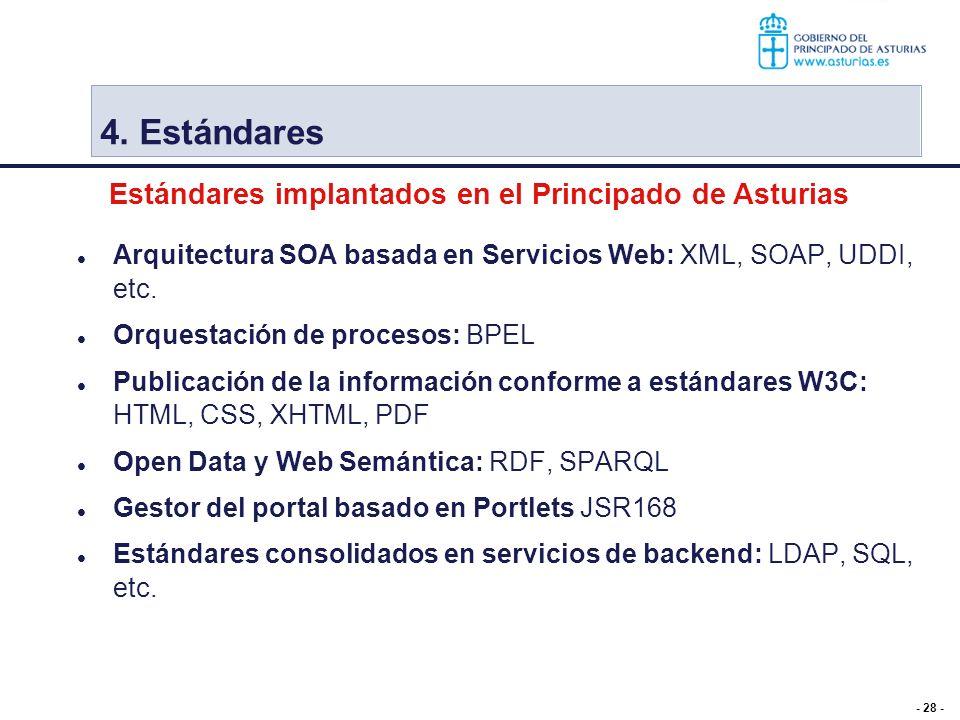 - 28 - 4. Estándares Arquitectura SOA basada en Servicios Web: XML, SOAP, UDDI, etc. Orquestación de procesos: BPEL Publicación de la información conf