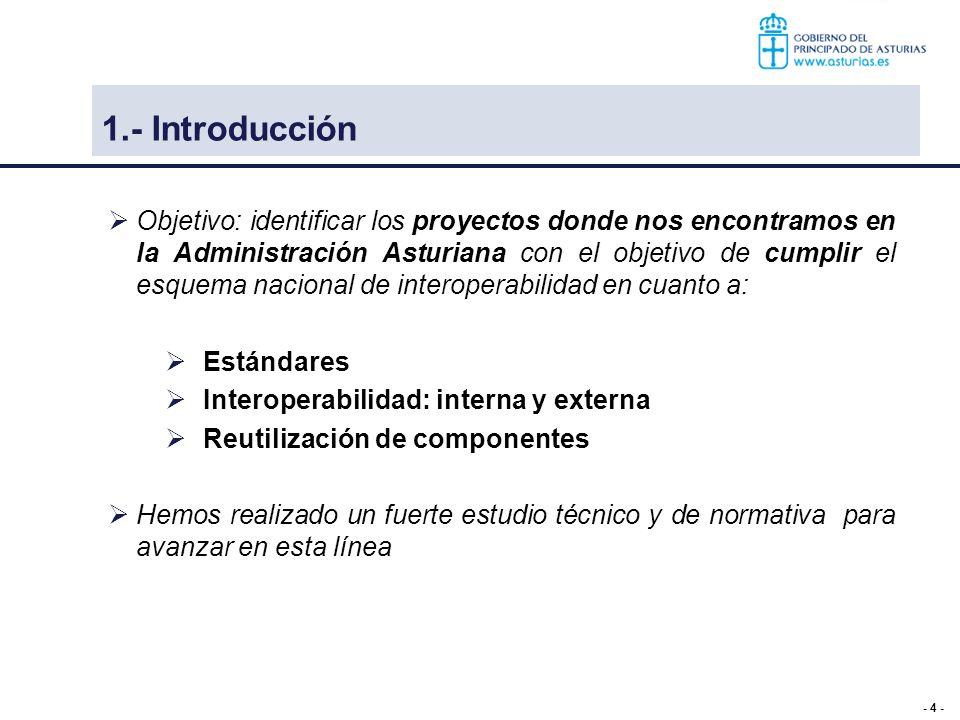 - 4 - 1.- Introducción Objetivo: identificar los proyectos donde nos encontramos en la Administración Asturiana con el objetivo de cumplir el esquema