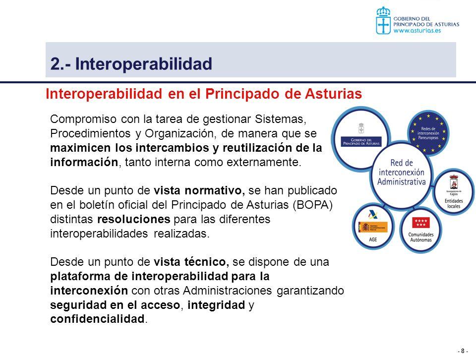 - 8 - Interoperabilidad en el Principado de Asturias 3 – Interoperabilidad Compromiso con la tarea de gestionar Sistemas, Procedimientos y Organizació
