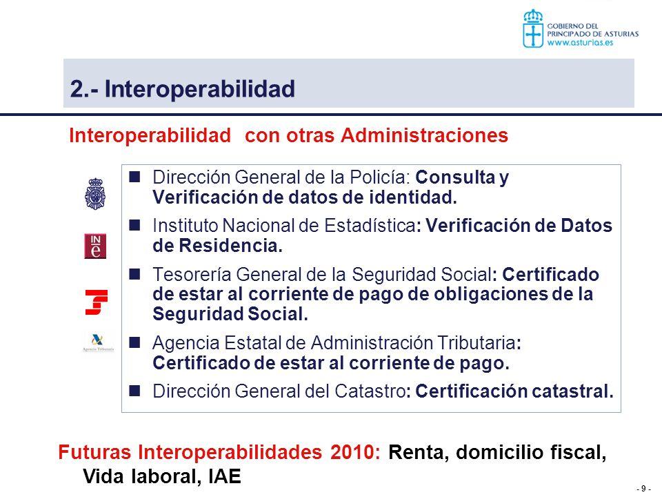 - 10 - Consejería de Bienestar Social y Vivienda Se proporciona el certificado de discapacidad Ente Tributario de Asturias: Certificado de estar al corriente de pago con las obligaciones tributarias con el Principado de Asturias Interoperabilidad interna Interoperabilidad hacia otras Administraciones Estamos trabajando para ofrecer el Certificado de discapacidad a cualquier otra Administración Pública 3 – Interoperabilidad 2.- Interoperabilidad