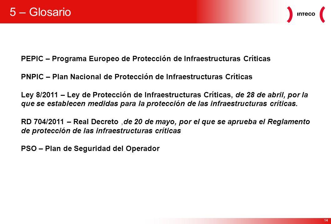 14 5 – Glosario PEPIC – Programa Europeo de Protección de Infraestructuras Críticas PNPIC – Plan Nacional de Protección de Infraestructuras Críticas L