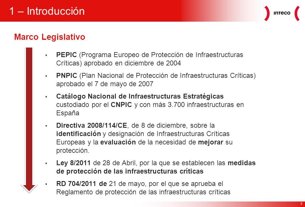 3 1 – Introducción PEPIC (Programa Europeo de Protección de Infraestructuras Críticas) aprobado en diciembre de 2004 PNPIC (Plan Nacional de Protecció