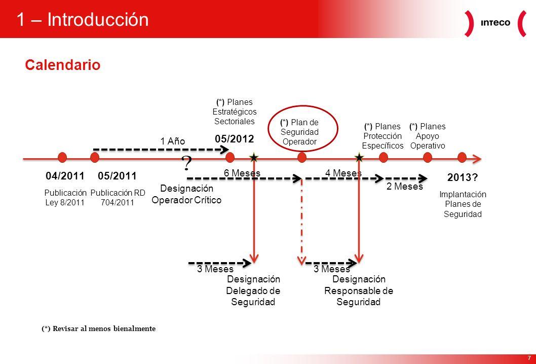 7 1 – Introducción Calendario 04/2011 Publicación Ley 8/2011 05/2011 Publicación RD 704/2011 (*) Planes Estratégicos Sectoriales 05/2012 2013? Implant