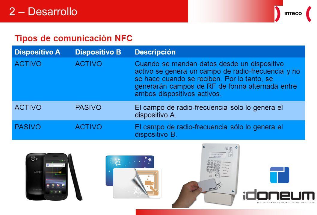 4 Tipos de comunicación NFC 2 – Desarrollo Dispositivo ADispositivo BDescripción ACTIVO Cuando se mandan datos desde un dispositivo activo se genera u