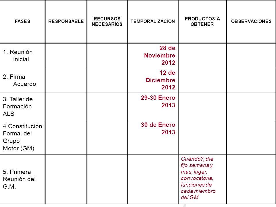 FASESRESPONSABLE RECURSOS NECESARIOS TEMPORALIZACIÓN PRODUCTOS A OBTENER OBSERVACIONES 1. Reunión inicial 28 de Noviembre 2012 2. Firma Acuerdo 12 de