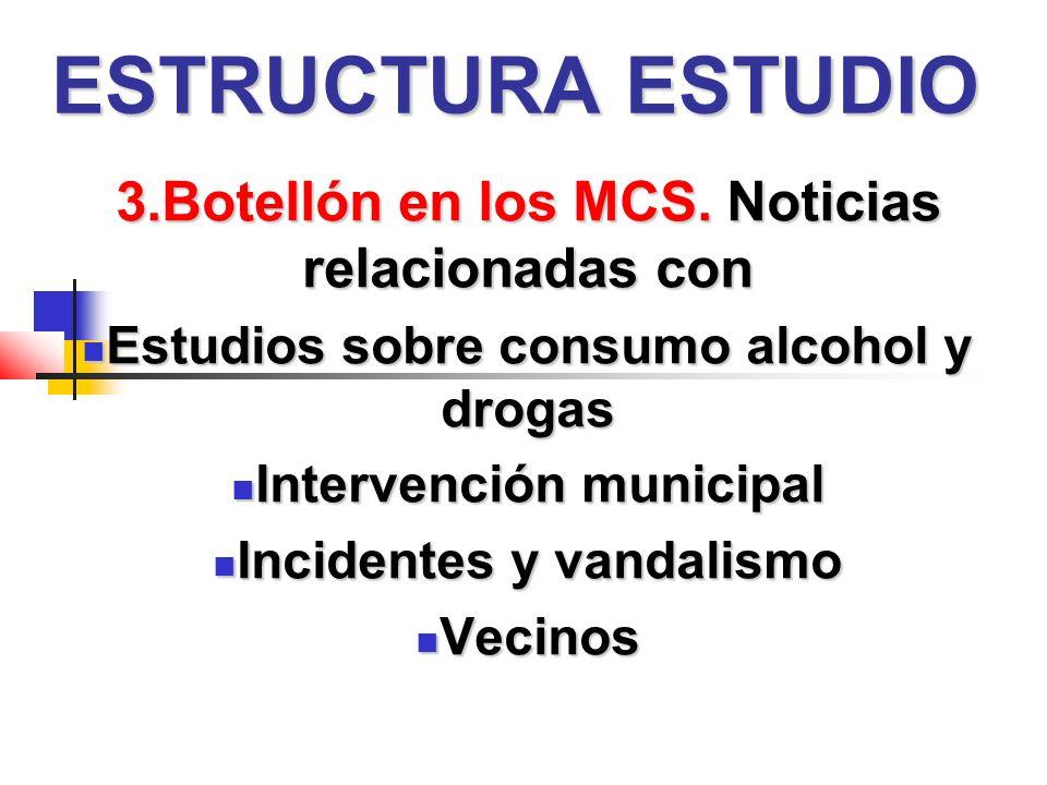 ESTRUCTURA ESTUDIO 3.Botellón en los MCS.