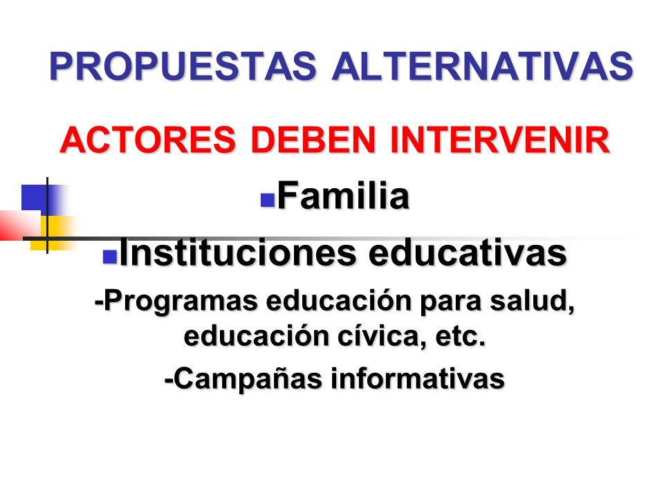 PROPUESTAS ALTERNATIVAS ACTORES DEBEN INTERVENIR Familia Familia Instituciones educativas Instituciones educativas -Programas educación para salud, educación cívica, etc.