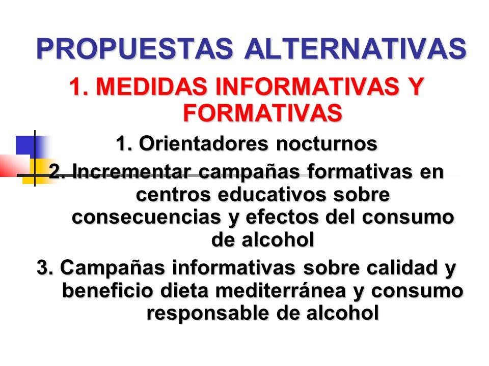 PROPUESTAS ALTERNATIVAS 1. MEDIDAS INFORMATIVAS Y FORMATIVAS 1.