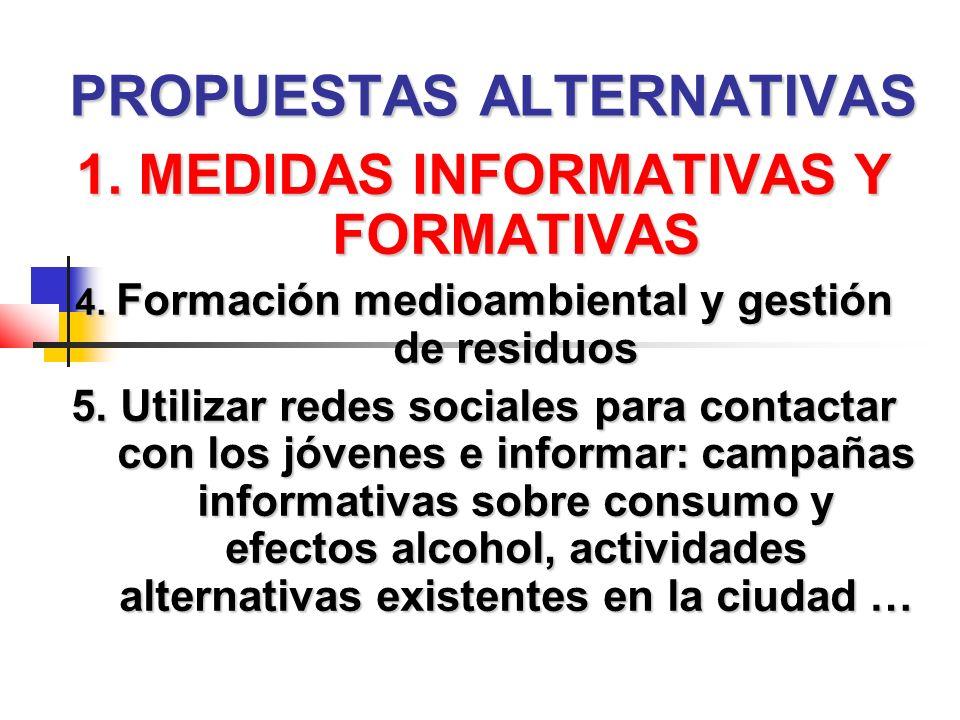 PROPUESTAS ALTERNATIVAS 1. MEDIDAS INFORMATIVAS Y FORMATIVAS 4.