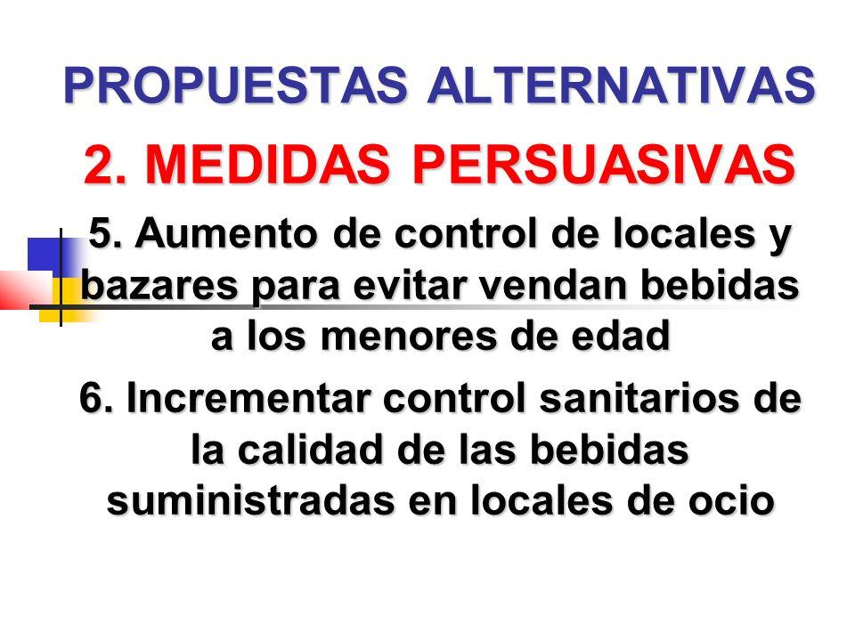 PROPUESTAS ALTERNATIVAS 2. MEDIDAS PERSUASIVAS 5.