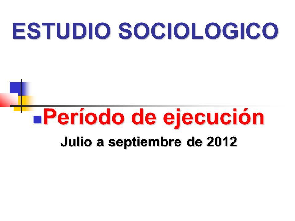 ESTUDIO SOCIOLOGICO Período de ejecución Período de ejecución Julio a septiembre de 2012