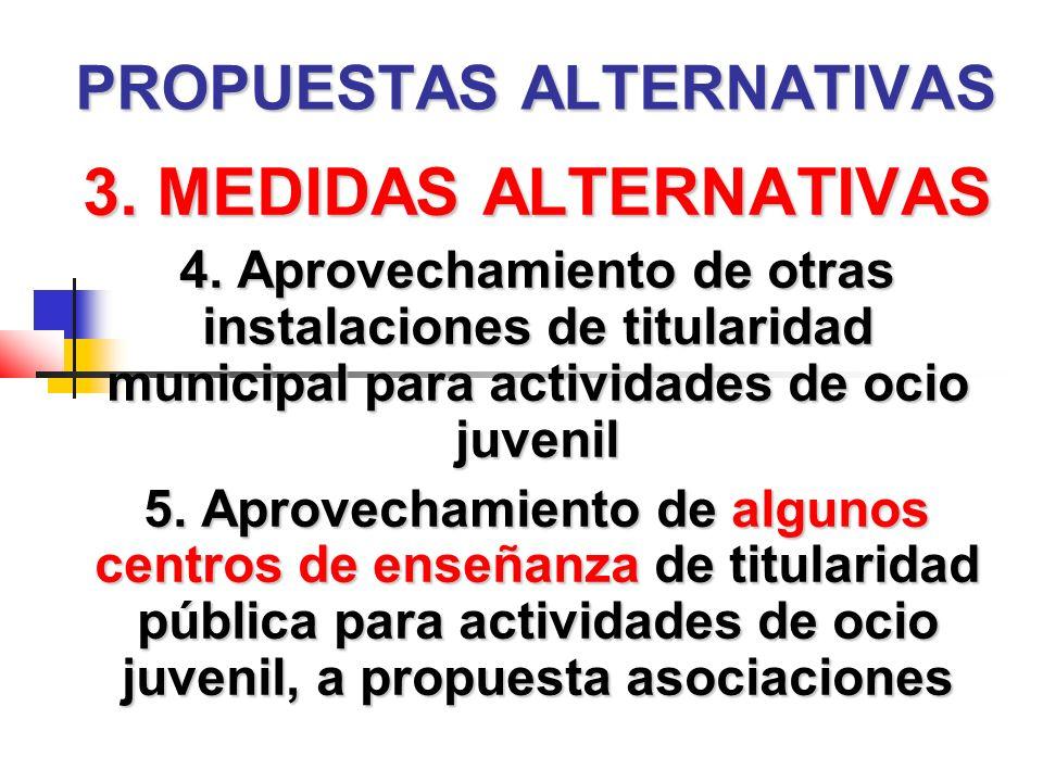 PROPUESTAS ALTERNATIVAS 3. MEDIDAS ALTERNATIVAS 4.