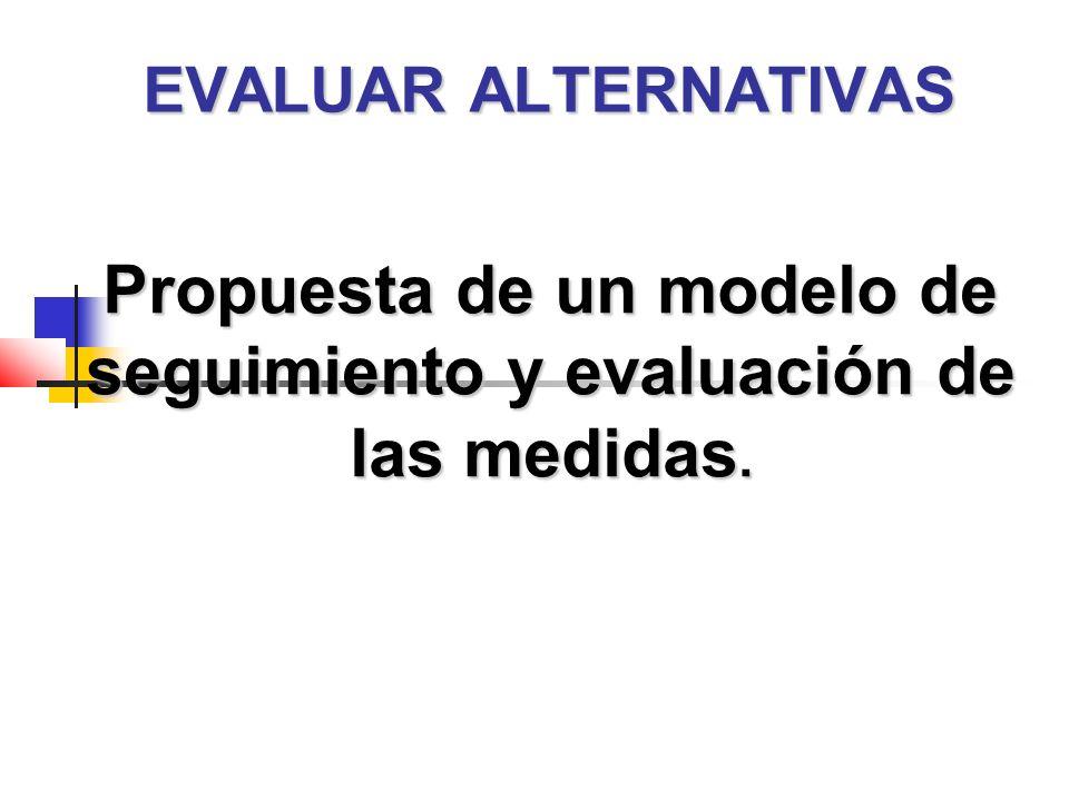 EVALUAR ALTERNATIVAS Propuesta de un modelo de seguimiento y evaluación de las medidas.