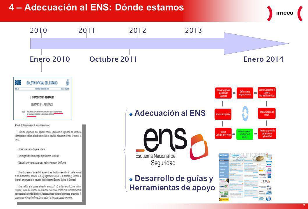 7 4 – Adecuación al ENS: Dónde estamos Enero 2010Enero 2014Octubre 2011 2010201120122013 Adecuación al ENS Desarrollo de guías y Herramientas de apoyo