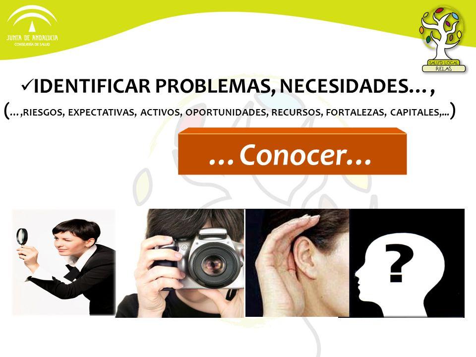 IDENTIFICAR PROBLEMAS, NECESIDADES…, ( …,RIESGOS, EXPECTATIVAS, ACTIVOS, OPORTUNIDADES, RECURSOS, FORTALEZAS, CAPITALES,... ) …Conocer…