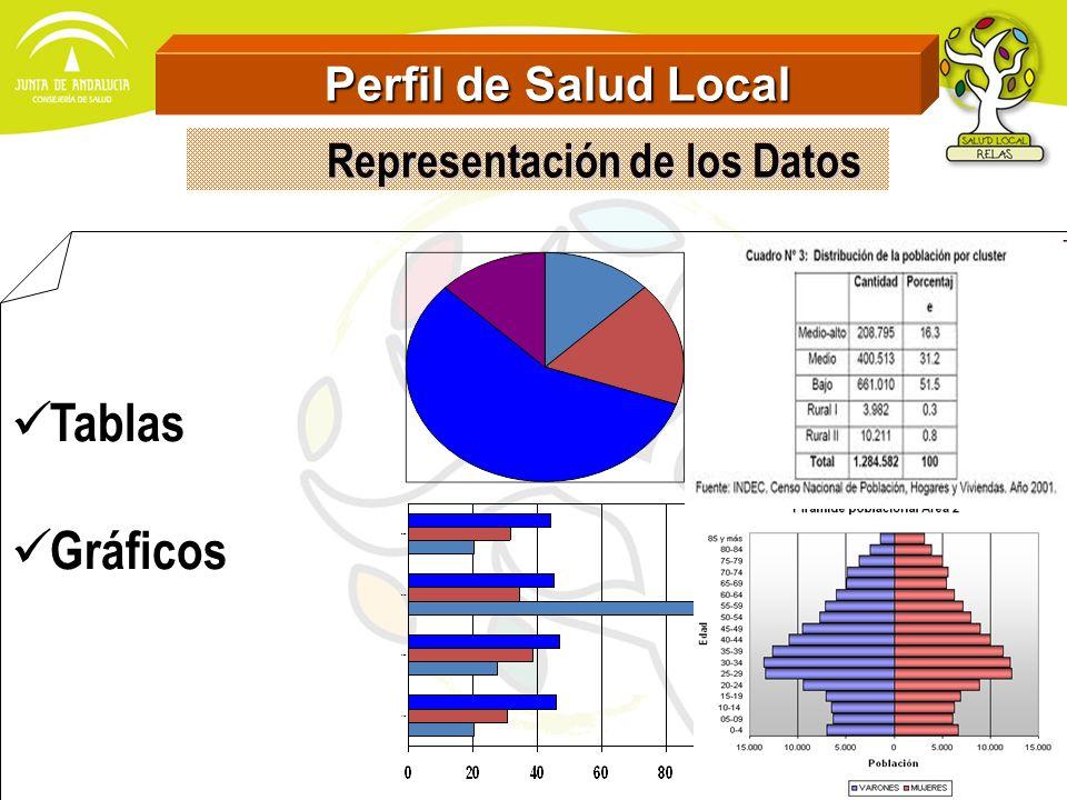Perfil de Salud Local Perfil de Salud Local Comparativos con otros ámbitos Territoriales Series Cronológicas Distribución de los datos en la localidad (Desigualdades) Representación de los Datos Representación de los Datos