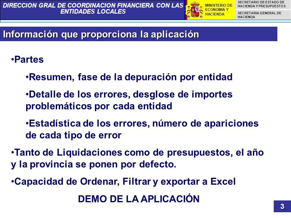 DIRECCION GRAL DE COORDINACION FINANCIERA CON LAS ENTIDADES LOCALES SECRETARIO DE ESTADO DE HACIENDA Y PRESUPUESTOS SECRETARIA GENERAL DE HACIENDA MINISTERIO DE ECONOMIA Y HACIENDA Información que proporciona la aplicación 3 Partes Resumen, fase de la depuración por entidad Detalle de los errores, desglose de importes problemáticos por cada entidad Estadística de los errores, número de apariciones de cada tipo de error Tanto de Liquidaciones como de presupuestos, el año y la provincia se ponen por defecto.