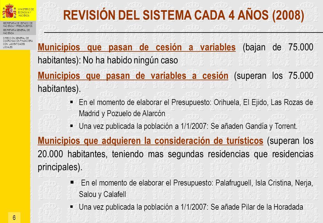 SECRETARÍA DE ESTADO DE HACIENDA Y PRESUPUESTOS SECRETARÍA GENERAL DE HACIENDA DIRECCIÓN GENERAL DE COORDINACIÓN FINANCIERA CON LAS ENTIDADES LOCALES MINISTERIO DE ECONOMÍA Y HACIENDA MODELO DE CESIÓN (Determinación del Fondo Complementario de Financiación en 2004) 7 Financiación 2004 = Financiación 2003 x ITE 2004/2003 Donde: Financiación 2003 = PTE 2003 Financiación 2004 = FCF 2004 + IRPF 2004 + IVA 2004 + IIEE 2004 Por tanto: FCF 2004 = PTE 2003 x ITE 2004/2003 - IRPF 2004 - IVA 2004 - IIEE 2004 Regla aplicable en el año base 2004: Regla aplicable en años sucesivos: Evoluciona con arreglo a la evolución del ITE entre el año correspondiente y el año base 2004