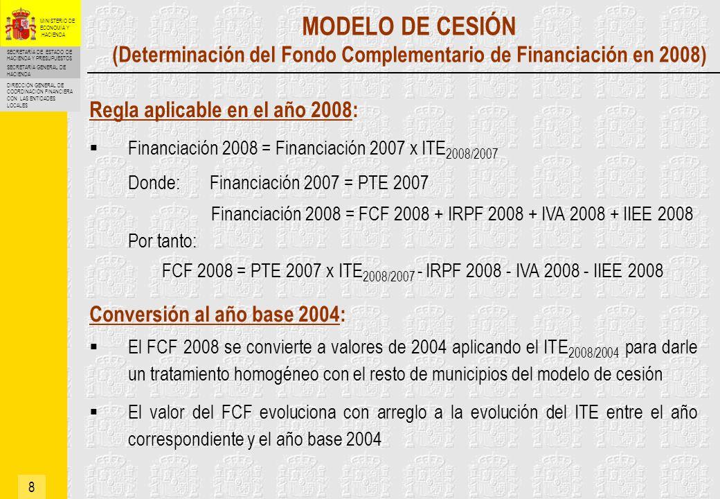 SECRETARÍA DE ESTADO DE HACIENDA Y PRESUPUESTOS SECRETARÍA GENERAL DE HACIENDA DIRECCIÓN GENERAL DE COORDINACIÓN FINANCIERA CON LAS ENTIDADES LOCALES MINISTERIO DE ECONOMÍA Y HACIENDA MODELO DE VARIABLES (Determinación del importe total de la Participación) 9 Municipios que pasan de variables a cesión La Participación Total de los municipios de régimen general se disminuye en el valor del PTE 2007de estos municipios, que se convierte a valores de 2004 aplicando el ITE 2007/2004 Municipios que pasan de cesión a variables La Participación Total de los municipios de régimen general se incrementa en el valor del PTE 2007 de los estos municipios, que se convierte a valores de 2004 aplicando el ITE 2007/2004 La PTE 2007 se calcula de modo que sea igual a la financiación total recibida por el municipio en 2007 PTE 2007 = FCF 2007 + IRPF 2007 + IVA 2007 + IIEE 2007 El importe total de la Participación evoluciona con arreglo a la evolución del ITE entre el año correspondiente y el año base 2004