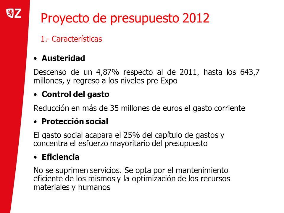 Proyecto de presupuesto 2012 1.- Características Austeridad Descenso de un 4,87% respecto al de 2011, hasta los 643,7 millones, y regreso a los nivele