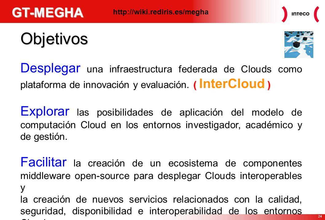 24 GT-MEGHA Objetivos ( ) Desplegar una infraestructura federada de Clouds como plataforma de innovación y evaluación.