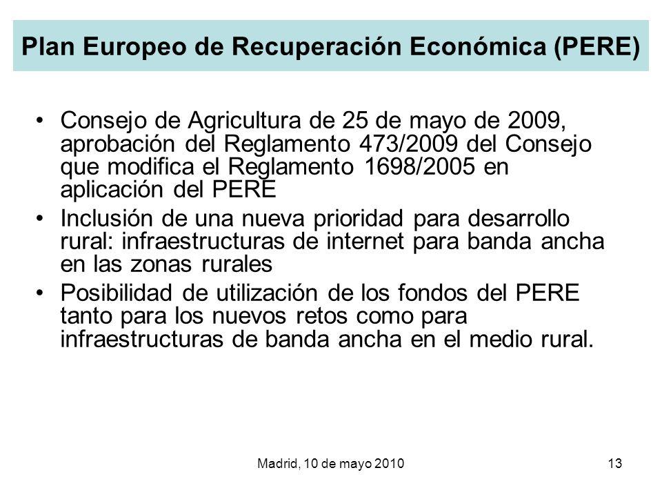 Madrid, 10 de mayo 201013 Plan Europeo de Recuperación Económica (PERE) Consejo de Agricultura de 25 de mayo de 2009, aprobación del Reglamento 473/20