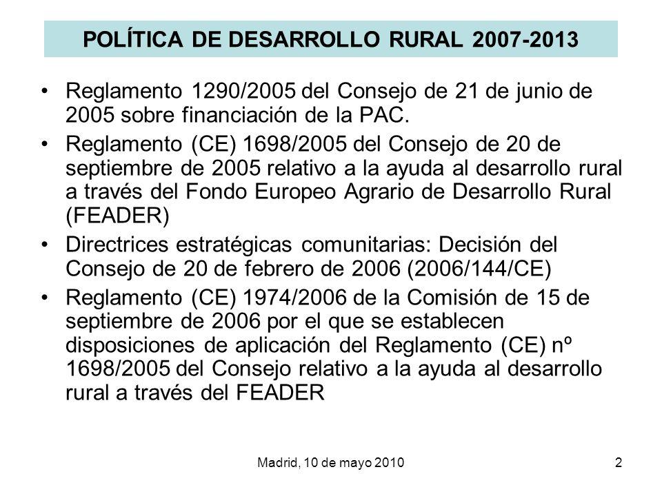 Madrid, 10 de mayo 20103 REGLAMENTO (CE) 1698/2005 Objetivos: –Aumento de la competitividad de la agricultura y la silvicultura –Mejora del medio ambiente y del medio rural –Mejora de la calidad de vida y diversificación de la actividad económica Ejes de actuación –Eje 1: Aumento de la competitividad de los sectores agrario y forestal –Eje 2: Mejora del Medio ambiente y del entorno rural –Eje 3: Mejora de la calidad de vida de las zonas rurales y diversificación de la economía rural –Eje 4: Leader
