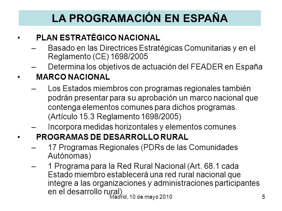 Madrid, 10 de mayo 20105 LA PROGRAMACIÓN EN ESPAÑA PLAN ESTRATÉGICO NACIONAL –Basado en las Directrices Estratégicas Comunitarias y en el Reglamento (