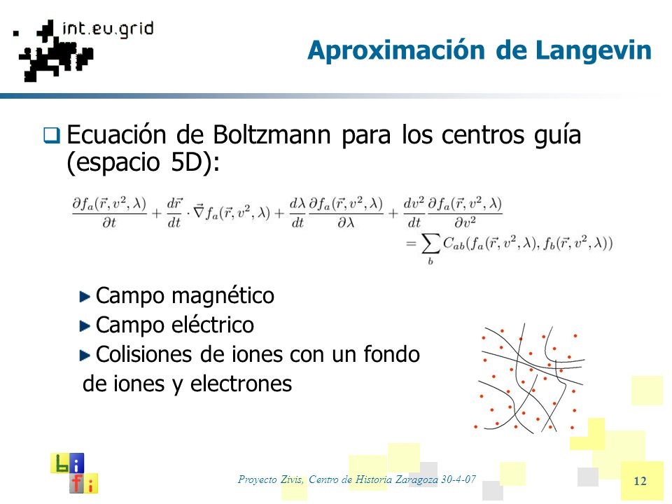 Proyecto Zivis, Centro de Historia Zaragoza 30-4-07 12 Aproximación de Langevin Ecuación de Boltzmann para los centros guía (espacio 5D): Campo magnét