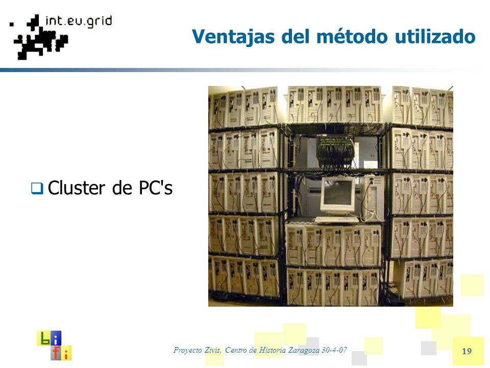 Proyecto Zivis, Centro de Historia Zaragoza 30-4-07 19 Ventajas del método utilizado Cluster de PC's