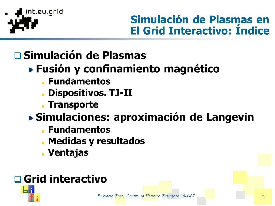 Proyecto Zivis, Centro de Historia Zaragoza 30-4-07 2 Simulación de Plasmas en El Grid Interactivo: Índice Simulación de Plasmas Fusión y confinamient