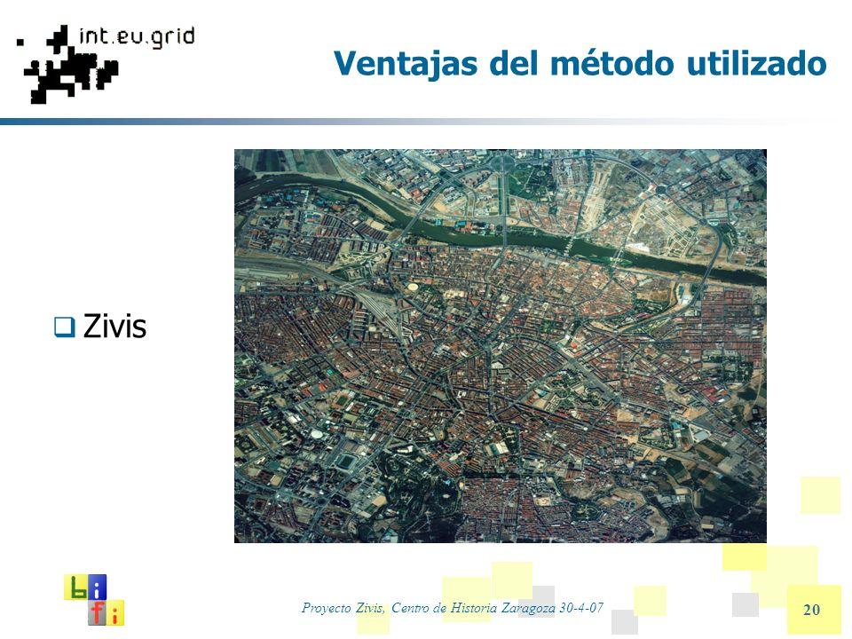 Proyecto Zivis, Centro de Historia Zaragoza 30-4-07 20 Ventajas del método utilizado Zivis