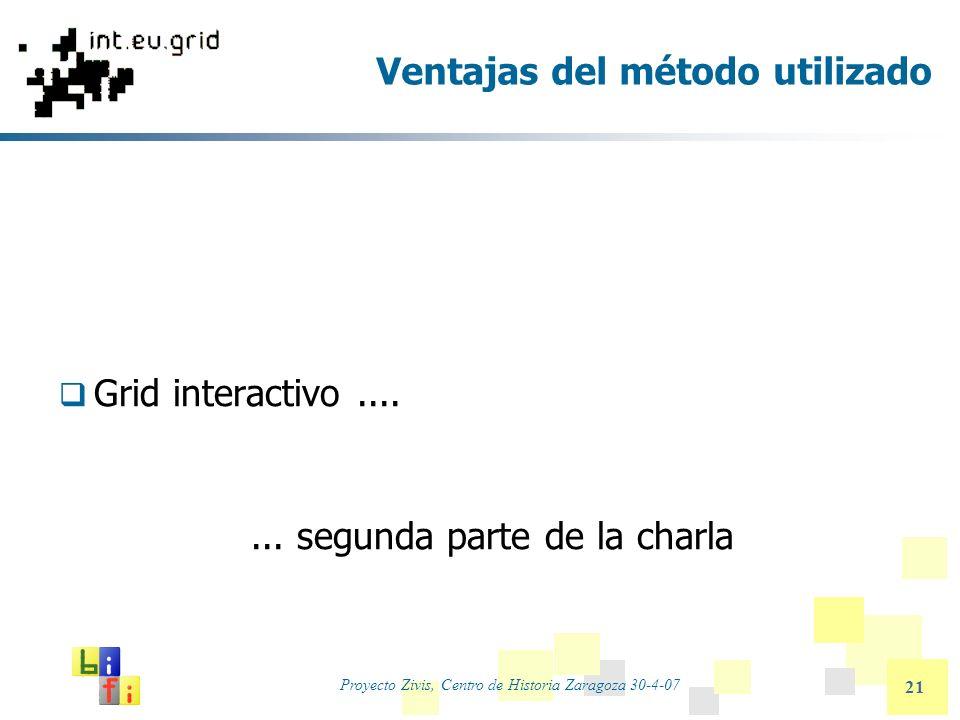 Proyecto Zivis, Centro de Historia Zaragoza 30-4-07 21 Ventajas del método utilizado Grid interactivo....... segunda parte de la charla
