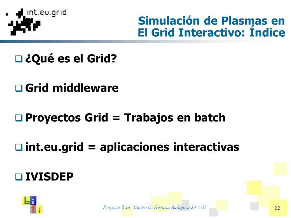Proyecto Zivis, Centro de Historia Zaragoza 30-4-07 22 Simulación de Plasmas en El Grid Interactivo: Índice ¿Qué es el Grid? Grid middleware Proyectos