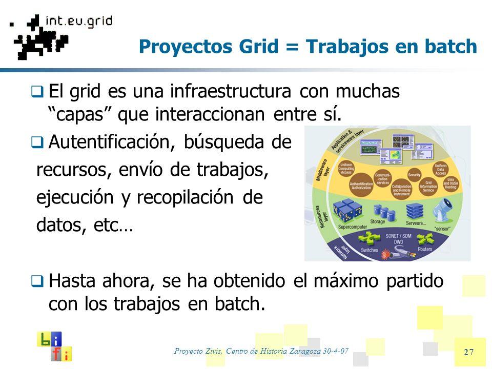 Proyecto Zivis, Centro de Historia Zaragoza 30-4-07 27 Proyectos Grid = Trabajos en batch El grid es una infraestructura con muchas capas que interacc