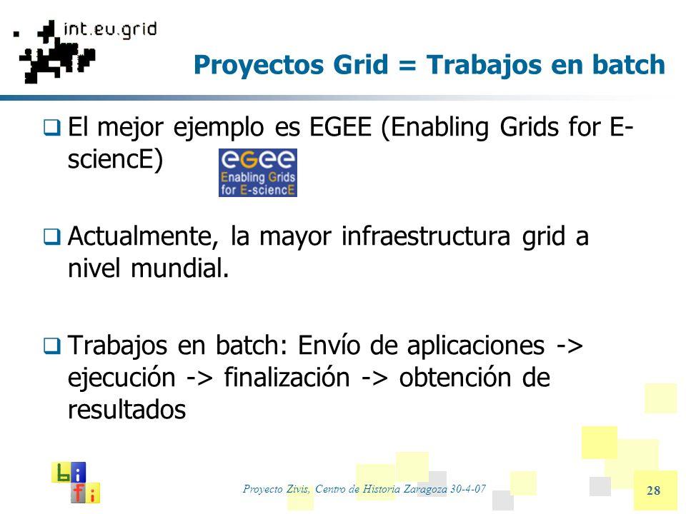 Proyecto Zivis, Centro de Historia Zaragoza 30-4-07 28 Proyectos Grid = Trabajos en batch El mejor ejemplo es EGEE (Enabling Grids for E- sciencE) Act