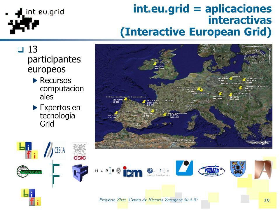 Proyecto Zivis, Centro de Historia Zaragoza 30-4-07 29 int.eu.grid = aplicaciones interactivas (Interactive European Grid) 13 participantes europeos R