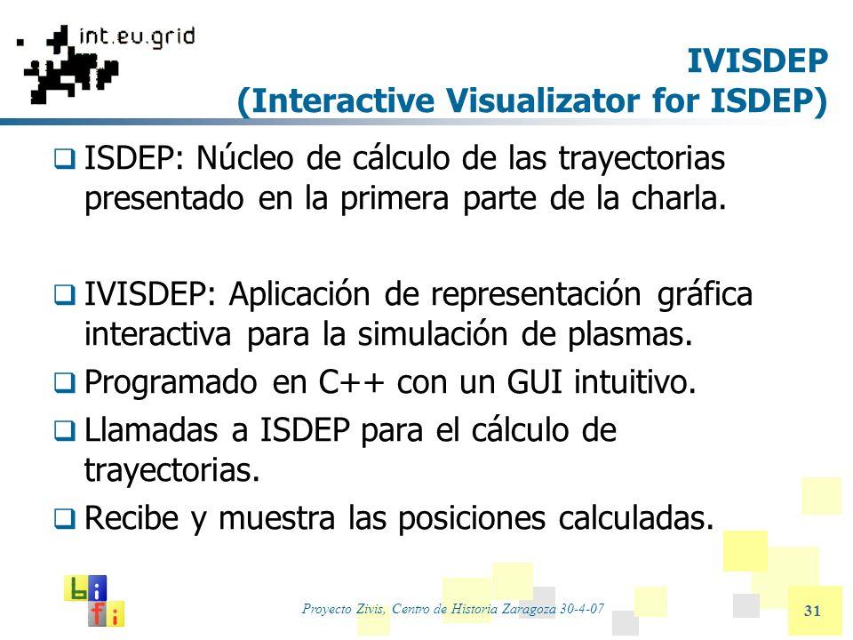 Proyecto Zivis, Centro de Historia Zaragoza 30-4-07 31 IVISDEP (Interactive Visualizator for ISDEP) ISDEP: Núcleo de cálculo de las trayectorias prese